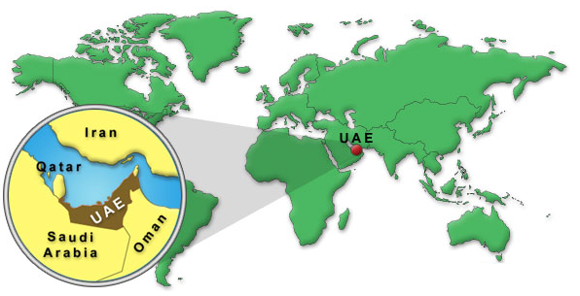 UAE map location